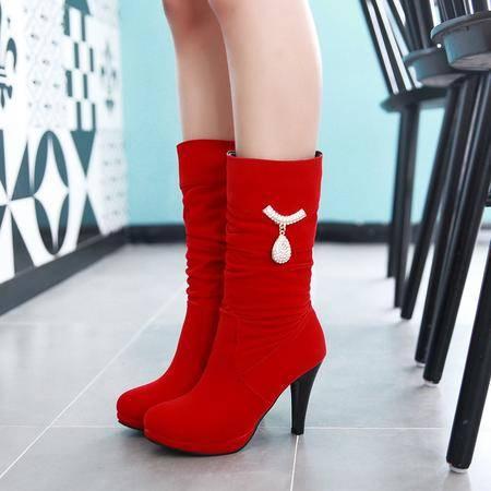 2016时尚秋冬新款欧美骑士中筒靴人造短绒毛磨砂高跟圆头红色女靴