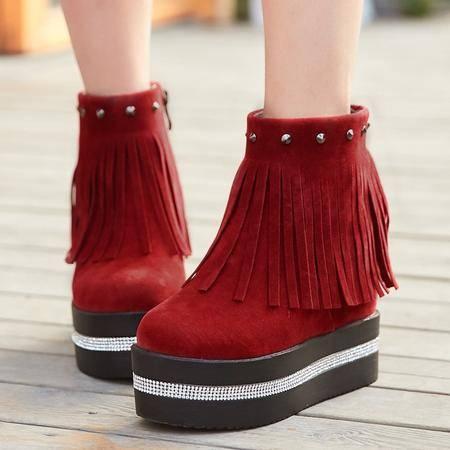 冬季新款 短靴欧美磨砂短筒圆头超高跟内增高流苏靴红色靴子