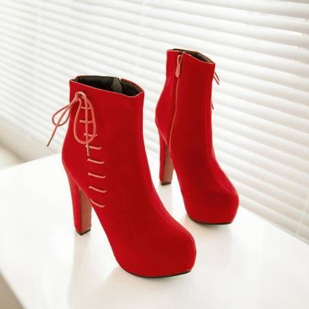 秋冬季马丁靴短靴单靴女粗跟高跟婚靴裸靴冬天红色结婚鞋新娘鞋子