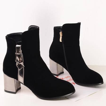 秋冬季学院风粗跟圆头马丁靴磨砂中跟短靴侧拉链裸靴拼色大码女鞋