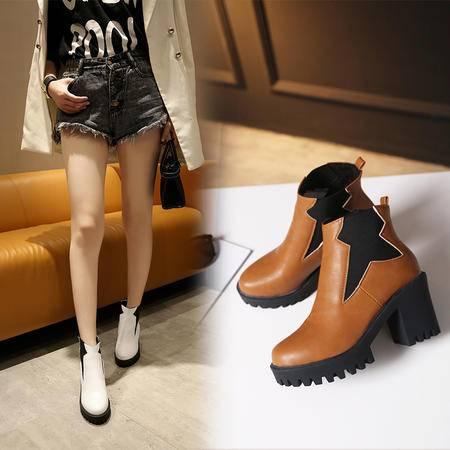韩版简约弹力套筒粗跟女靴子厚底防滑马丁靴秋季高跟靴短筒短靴子