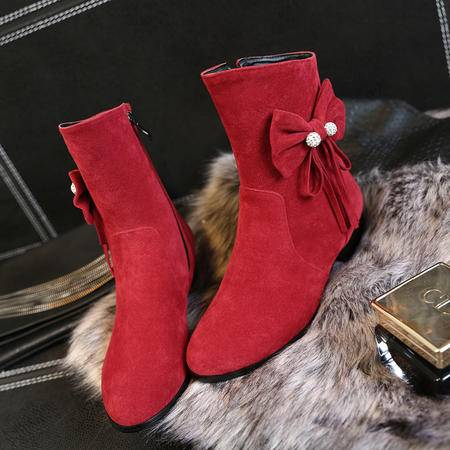 秋冬季半筒靴内增高高跟短靴蝴蝶结平底及踝靴子女鞋