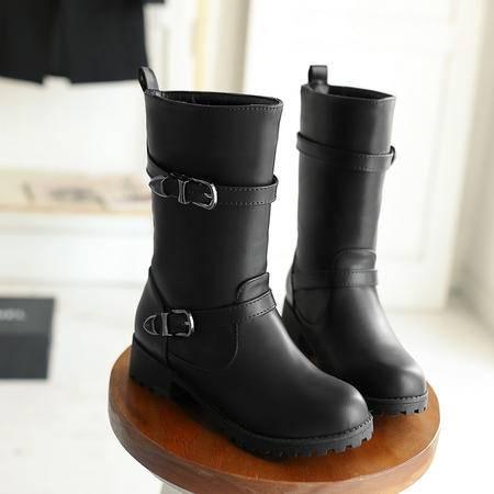 马丁靴女短靴英伦风短筒平跟靴2016秋冬季套筒厚毛保暖女鞋子