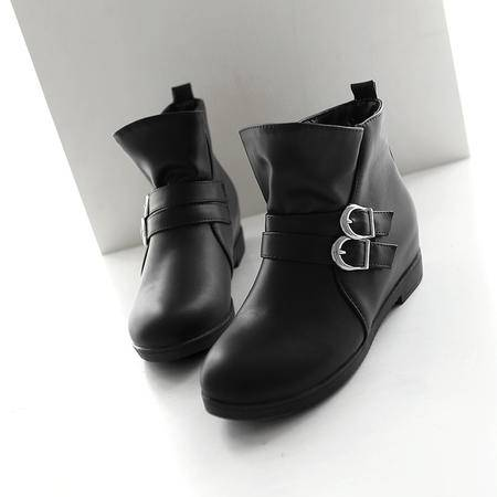 2016秋冬季新款爆款女士低跟扣带简约时尚短筒靴女优雅大方