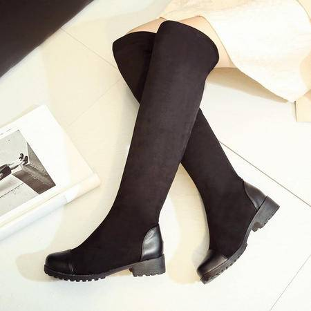 真皮过膝长靴瘦腿弹力靴瘦身高筒靴女靴2016新款弹力靴过膝长靴潮
