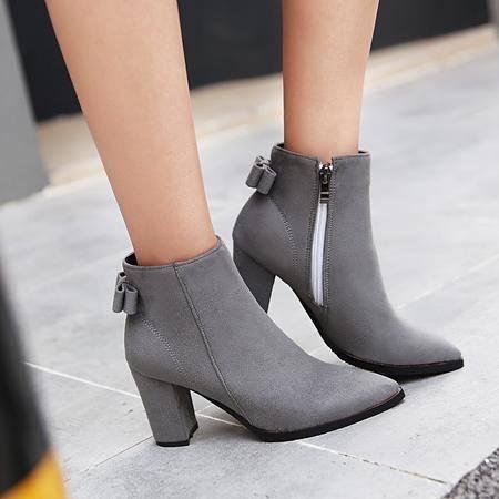 秋冬季韩版磨砂尖头高跟马丁靴粗跟侧拉链短靴蝴蝶结学生大码女鞋