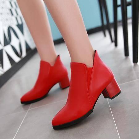 2016春秋新款马丁靴中跟粗跟短靴英伦风尖头及裸靴韩版红色单靴女