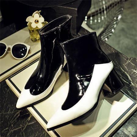 2016新款欧美大牌明星同款马丁靴尖头中筒靴粗跟中跟高跟单靴女靴