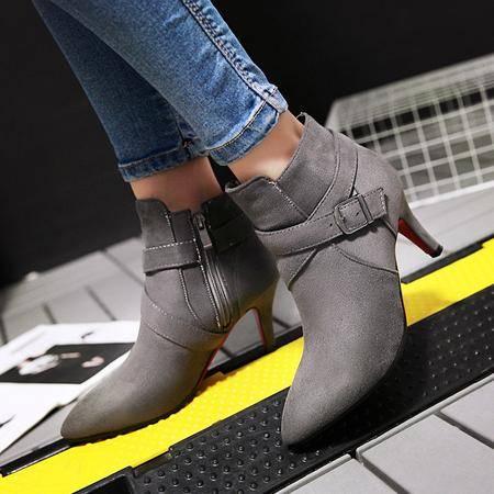 及裸靴皮带扣2016秋新款欧洲站尖头高跟短靴细跟搭扣踝靴女靴单靴
