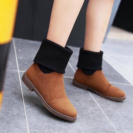 2016秋冬季新款平底短靴女毛线拼色复古小矮靴平跟马丁靴短筒女靴