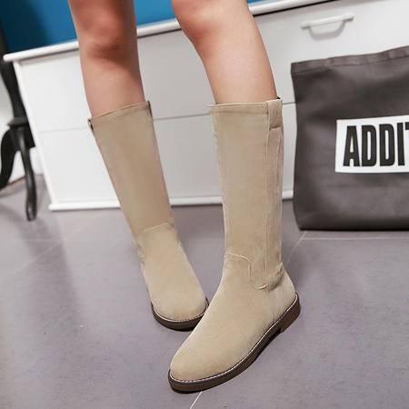 2016新款女靴中筒靴秋冬季平跟英伦风骑士靴中长筒靴平底中靴潮女