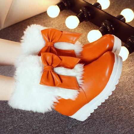2016冬季新款蝴蝶结雪地靴女短靴短筒棉靴女鞋