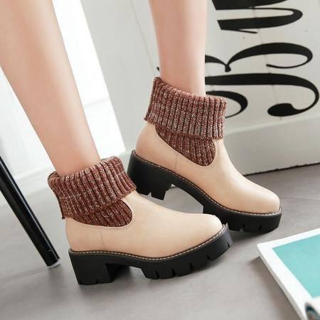2016冬款 檫色磨砂牛皮拼接毛线口短靴 加绒马丁靴套筒女靴低跟靴