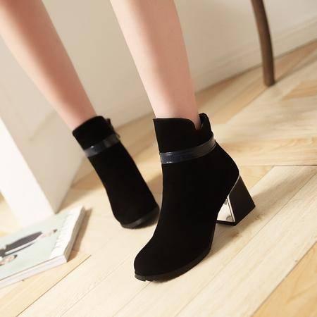 短靴女春秋单靴粗跟马丁靴女英伦风女春秋单靴圆头秋季女鞋女靴子