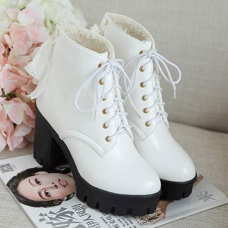 2016秋冬新款女鞋马丁靴英伦风短靴女雪地靴加绒女靴平底单靴裸靴