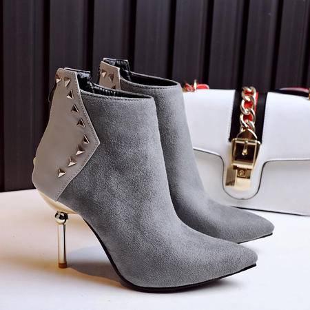 2016女靴秋季新款尖头磨砂短靴女春秋单靴细跟
