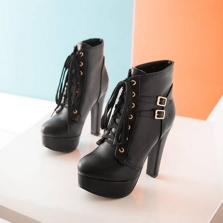 新款春秋单靴防水台超高跟短靴英伦系带马丁靴粗跟欧美冬季女靴子