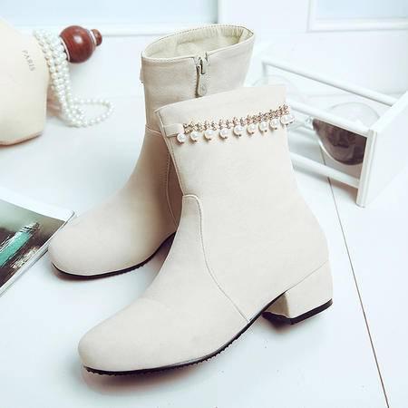2016冬季新款圆头珍珠金属链短靴时尚马丁靴侧拉链中跟水钻女靴潮