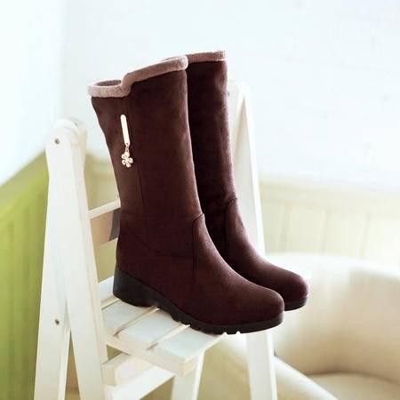 秋冬平底磨砂中筒靴防滑加绒加厚套筒雪地靴学生棉靴