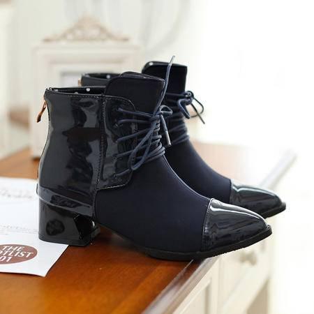 2016春秋冬季女粗跟短靴中跟女靴欧美尖头女式鞋弹力靴