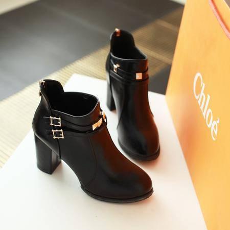 2016秋冬新款高跟马丁靴四季单靴韩版休闲短靴粗跟皮面女短筒靴子