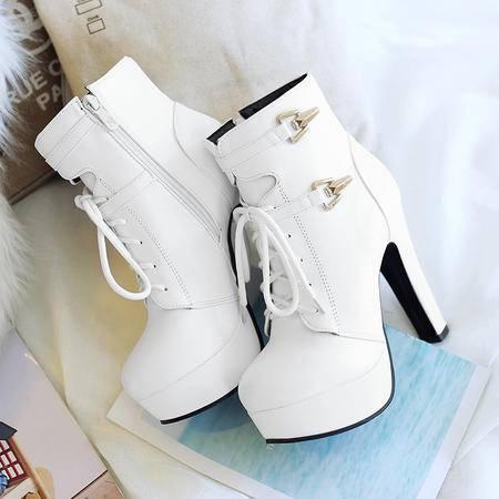 超高跟短靴女春秋皮带扣侧拉链马丁靴圆头粗跟及裸靴防水台女靴子