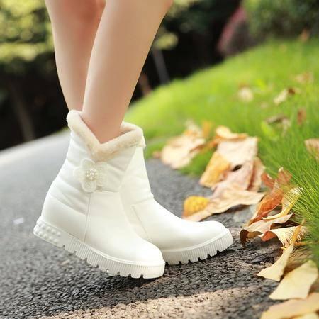 秋冬季平底女大童棉鞋甜美公主雪地靴初中学生加厚毛绒短靴