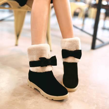 蝴蝶结女靴毛绒糖果色冬靴内增高厚底短靴短时尚雪地靴磨砂保暖靴