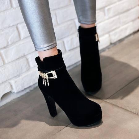 2016秋冬新款超高跟马丁靴韩版简约水钻短筒靴粗跟防水台女靴子潮