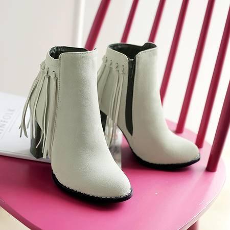 2016冬季女鞋高跟新款大码短筒婚鞋圆头马丁靴磨砂胶粘鞋靴子