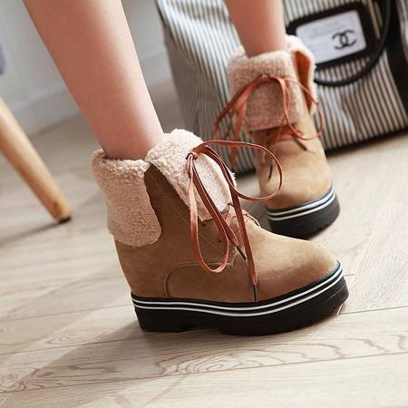 冬季新款保暖加厚毛超高内增高绑带马丁靴磨砂厚底女靴