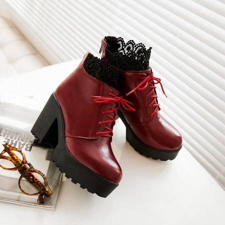 2016秋季时尚欧美简约优雅蕾丝花边高跟鞋韩版甜美舒适粗跟马丁靴