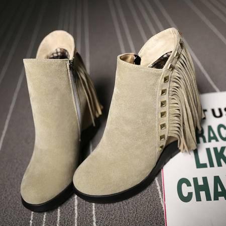 冬季新款流苏马丁靴内增高圆头短筒女鞋前拉练韩版磨砂西施绒冬靴