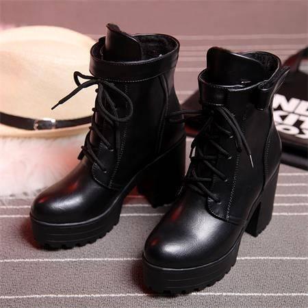 春秋季高跟马丁靴女英伦风短靴皮带扣系带厚底粗跟女靴子冬季女鞋