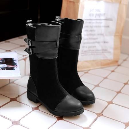 2016秋冬韩版新款学院风马丁靴方跟低跟平底大码中筒靴短靴女靴子