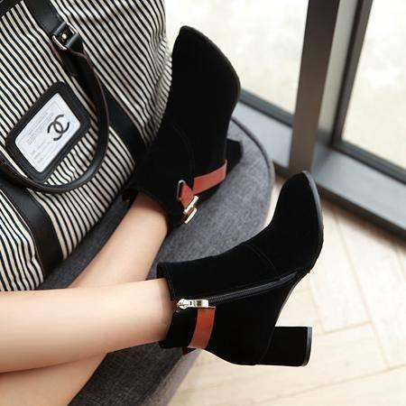 磨砂高跟及踝短靴粗跟冬季女加绒侧拉链韩版粗跟绒面春秋季马丁靴