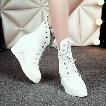 2016冬季时尚休闲系带厚底靴松糕鞋底中筒靴圆头中跟防滑底马丁靴