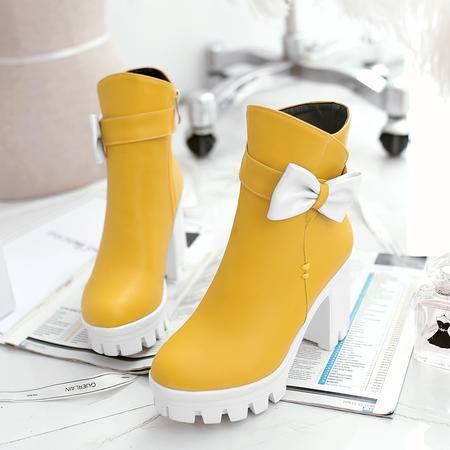 2016冬季新款超高跟厚底防水台欧美甜美女靴子粗跟蝴蝶结短筒马丁靴子