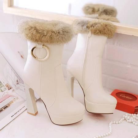 2016新款秋冬保暖棉靴圆头兔毛短靴毛毛靴粗跟高跟时侧拉链马丁靴