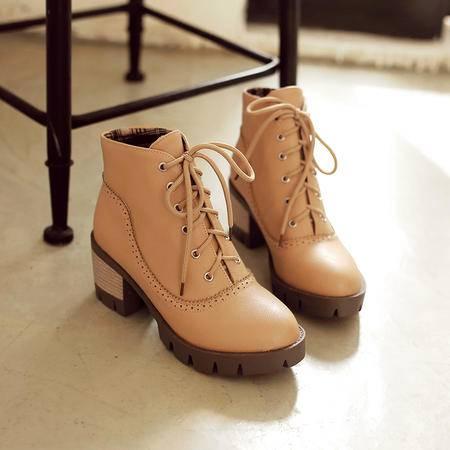 交叉系带深口英伦学生鞋女秋粗跟复古马丁靴英伦短筒单靴中跟短靴