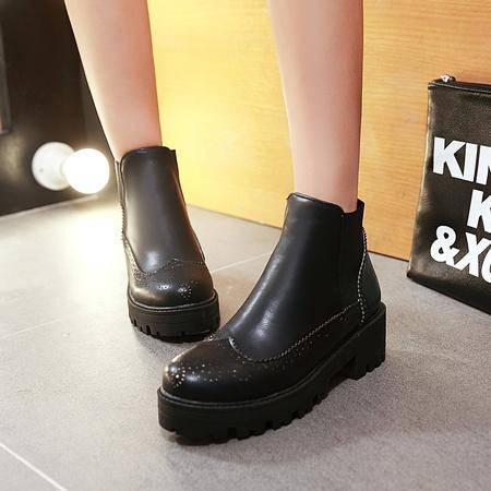 短靴2015秋冬新款马丁靴平底雪地靴真皮平跟短筒圆头厚底及踝靴子