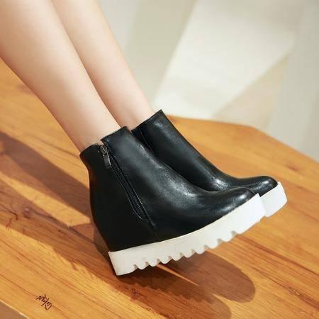 2016秋冬季新款短靴女内增高韩版马丁靴高跟单靴侧拉链平底女靴潮