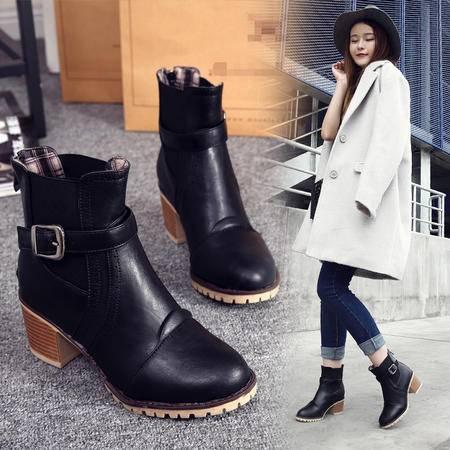 学院风中跟圆头女靴子韩版单靴大码粗跟百搭拉链马丁靴金属扣短靴