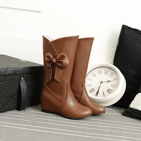 靴子女春秋中筒靴平跟坡跟韩版蝴蝶结甜美女鞋秋冬白色单靴子