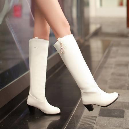 2016秋冬女中高跟演出高筒靴小马丁靴白色靴子女高跟靴子韩版女靴