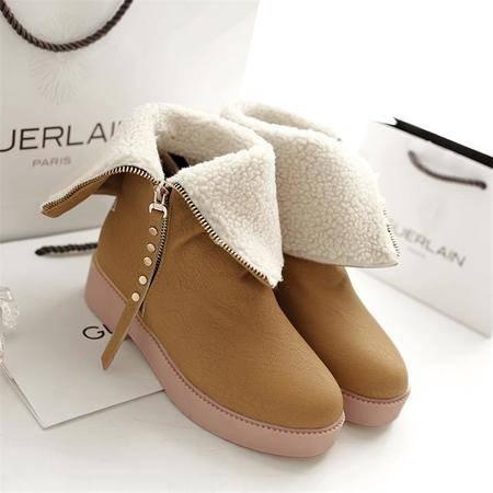 侧拉链加厚萌妹子学生平底短靴 低跟小矮靴秋冬雪地靴女靴子棉鞋