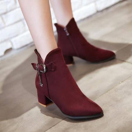 2016秋冬季新款短靴中跟粗跟优雅气质尖头女靴绒面休闲百搭马丁靴