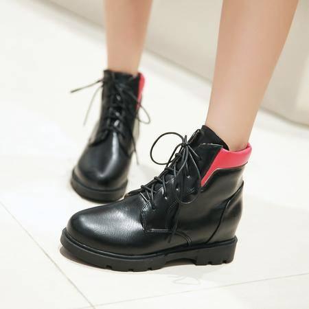 2016内增高短靴系带马丁靴圆头厚底高跟女靴子春秋学生平底短筒靴