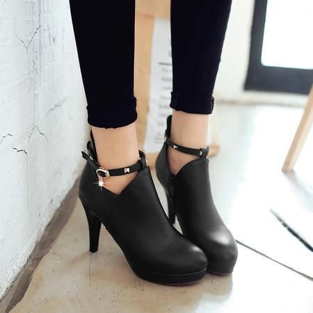 马丁靴女短靴女靴子短筒靴春秋冬季女士高跟鞋2016新款细跟女鞋子