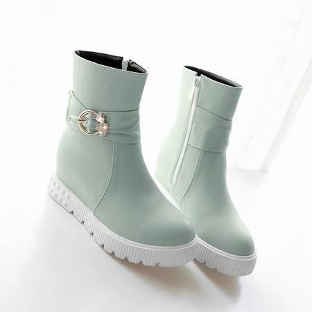 2016新款秋冬女鞋短筒靴子内增高女靴甜美平底短靴春秋中靴马丁靴